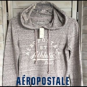 🆕 AEROPOSTALE Sz XS gray long sleeve hooded tee